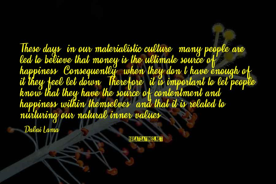 Inner Source Sayings By Dalai Lama: These days, in our materialistic culture, many people are led to believe that money is
