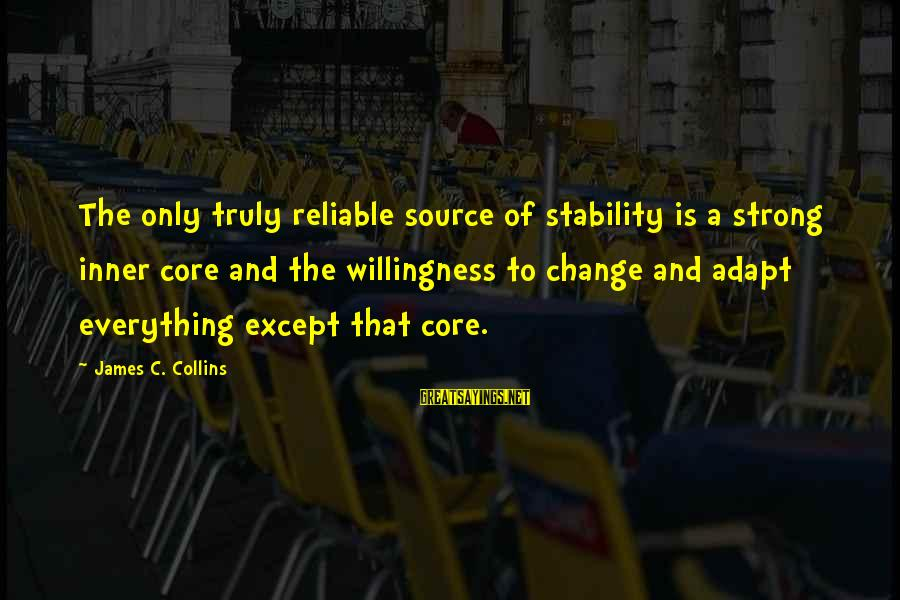 Inner Source Sayings By James C. Collins: The only truly reliable source of stability is a strong inner core and the willingness