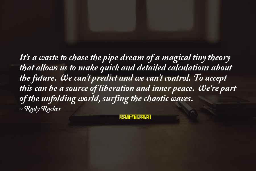 Inner Source Sayings By Rudy Rucker: It's a waste to chase the pipe dream of a magical tiny theory that allows