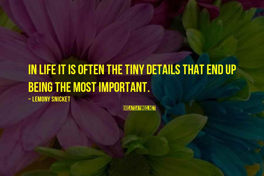 Inspirational Life Sayings By Lemony Snicket: In life it is often the tiny details that end up being the most important.