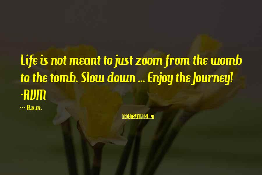 Inspirational Life Sayings By R.v.m.: Life is not meant to just zoom from the womb to the tomb. Slow down