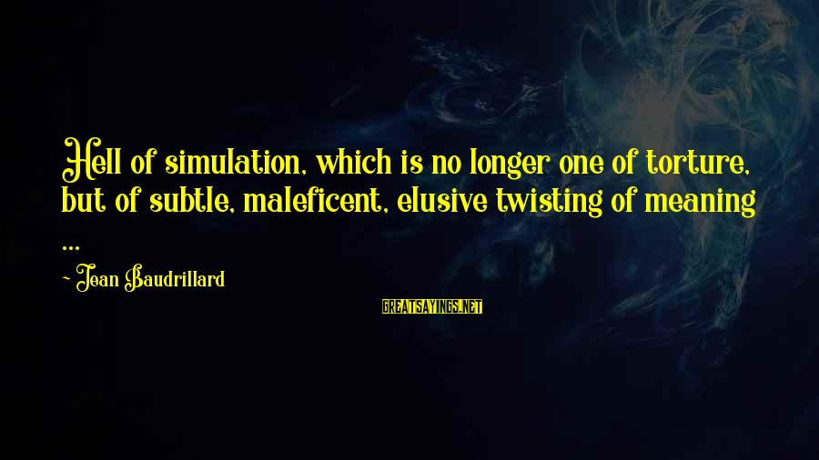 Inspirational Motivational Romantic Sayings By Jean Baudrillard: Hell of simulation, which is no longer one of torture, but of subtle, maleficent, elusive