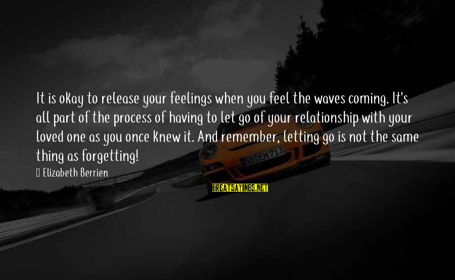 Inspirational Support Sayings By Elizabeth Berrien: It is okay to release your feelings when you feel the waves coming. It's all