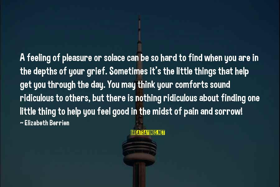 Inspirational Support Sayings By Elizabeth Berrien: A feeling of pleasure or solace can be so hard to find when you are
