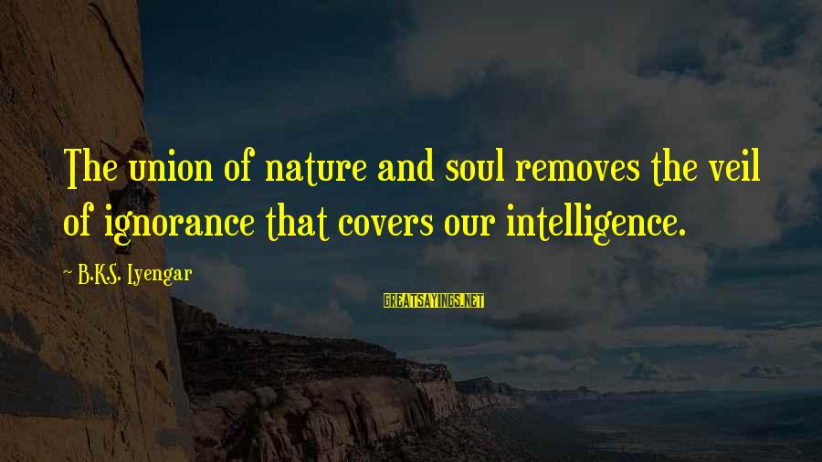 Intelligence And Ignorance Sayings By B.K.S. Iyengar: The union of nature and soul removes the veil of ignorance that covers our intelligence.