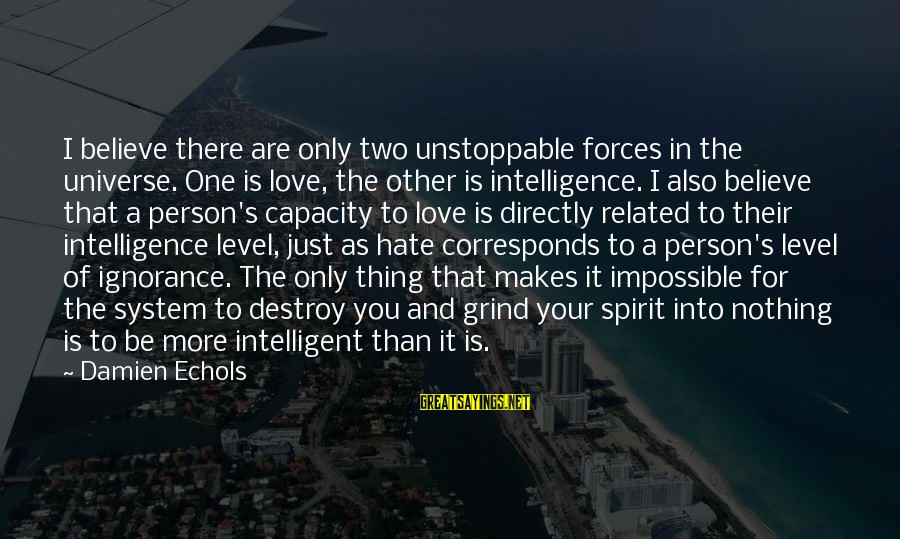 Intelligence And Ignorance Sayings By Damien Echols: I believe there are only two unstoppable forces in the universe. One is love, the