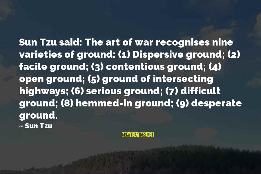 Intersecting Sayings By Sun Tzu: Sun Tzu said: The art of war recognises nine varieties of ground: (1) Dispersive ground;