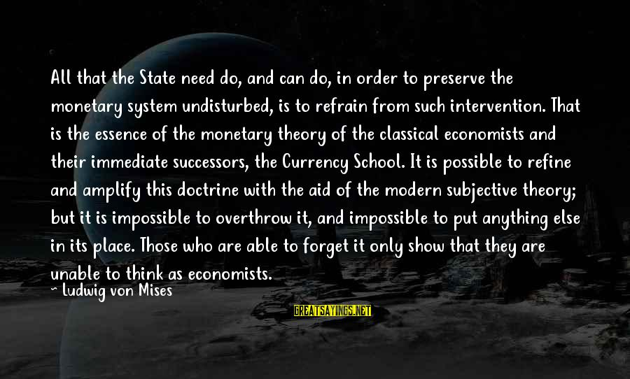 Intervention Show Sayings By Ludwig Von Mises: All that the State need do, and can do, in order to preserve the monetary