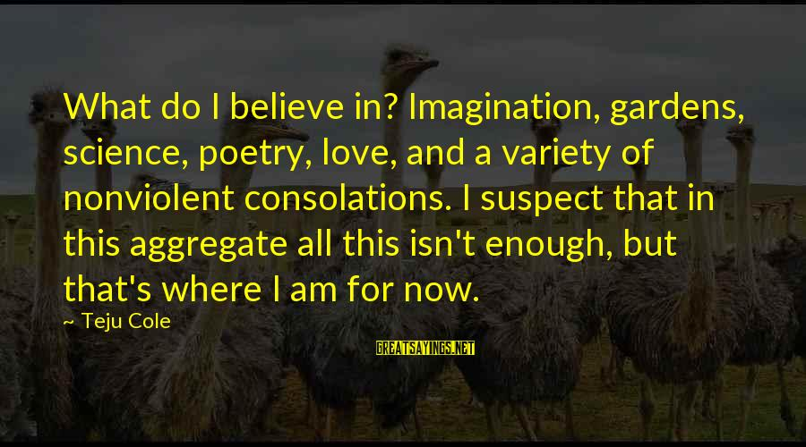 Intruro Sayings By Teju Cole: What do I believe in? Imagination, gardens, science, poetry, love, and a variety of nonviolent