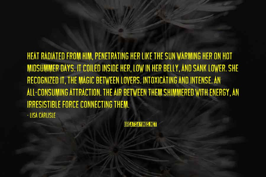 Irresistible Force Sayings By Lisa Carlisle: Heat radiated from him, penetrating her like the sun warming her on hot midsummer days.