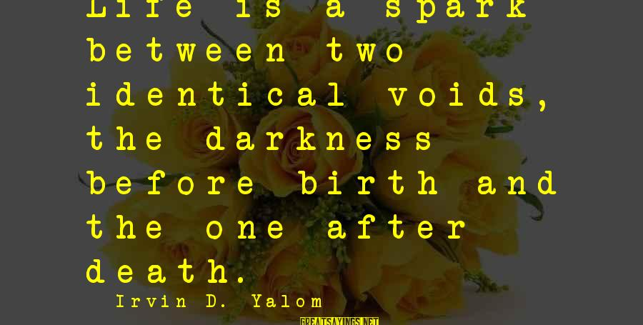 Irvin Sayings By Irvin D. Yalom: Life is a spark between two identical voids, the darkness before birth and the one