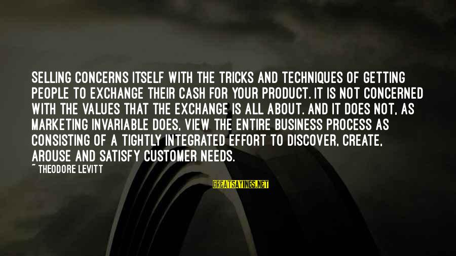 Is Not Your Business Sayings By Theodore Levitt: Selling concerns itself with the tricks and techniques of getting people to exchange their cash