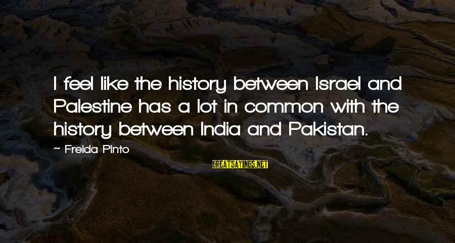 Israel And Palestine Sayings By Freida Pinto: I feel like the history between Israel and Palestine has a lot in common with