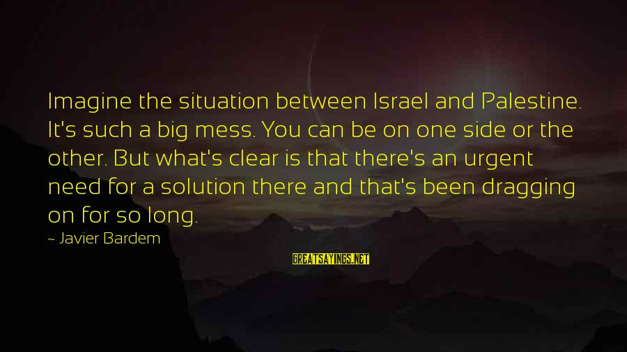 Israel And Palestine Sayings By Javier Bardem: Imagine the situation between Israel and Palestine. It's such a big mess. You can be