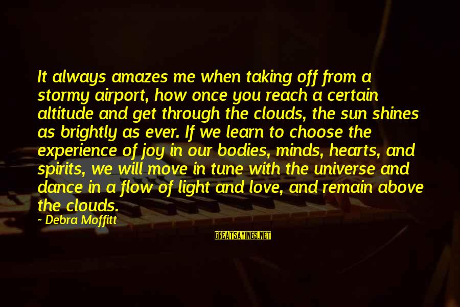 It Amazes Me Sayings By Debra Moffitt: It always amazes me when taking off from a stormy airport, how once you reach