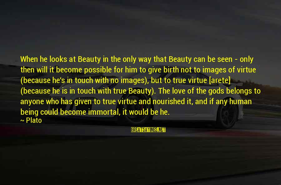 It Could Be Love Sayings By Plato: When he looks at Beauty in the only way that Beauty can be seen -