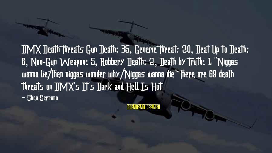 It Is Hot Sayings By Shea Serrano: DMX Death Threats Gun Death: 35, Generic Threat: 20, Beat Up to Death: 6, Non-Gun