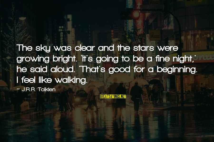 It Was A Good Night Sayings By J.R.R. Tolkien: The sky was clear and the stars were growing bright. 'It's going to be a