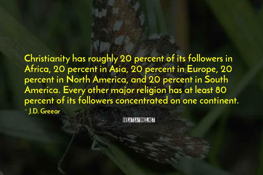 J.D. Greear Sayings: Christianity has roughly 20 percent of its followers in Africa, 20 percent in Asia, 20