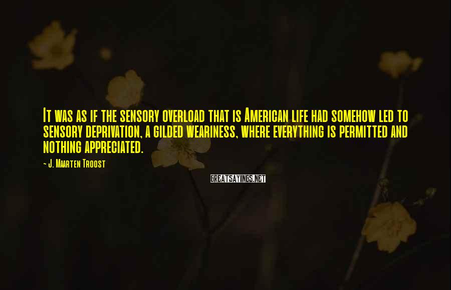 J. Maarten Troost Sayings: It was as if the sensory overload that is American life had somehow led to
