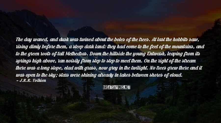 J.R.R. Tolkien Sayings: The day waned, and dusk was twined about the boles of the trees. At last