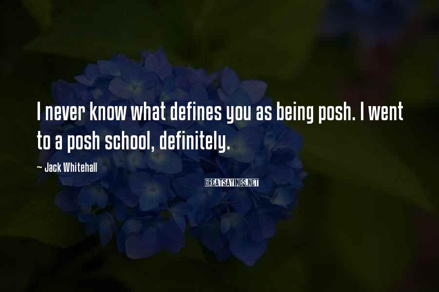 Jack Whitehall Sayings: I never know what defines you as being posh. I went to a posh school,