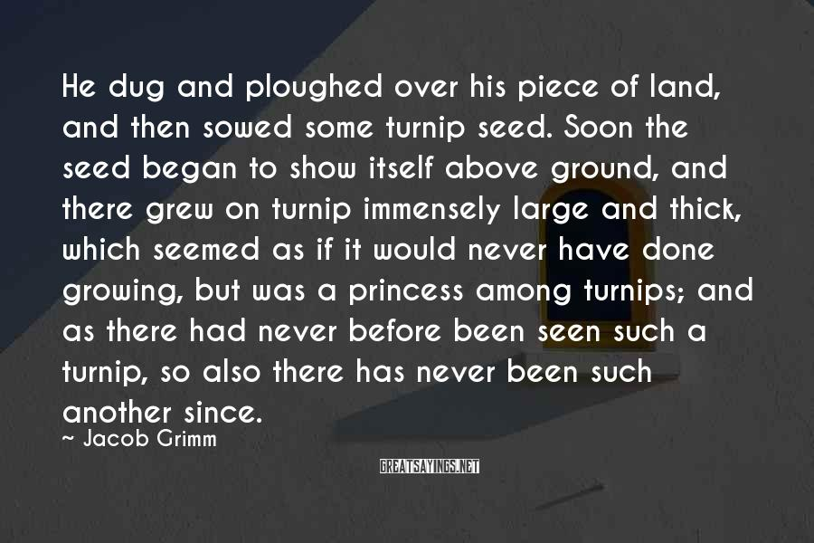 Jacob Grimm Sayings: He dug and ploughed over his piece of land, and then sowed some turnip seed.
