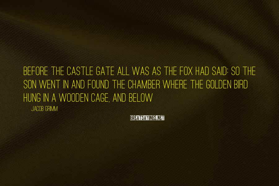 Jacob Grimm Sayings: Before the castle gate all was as the fox had said: so the son went