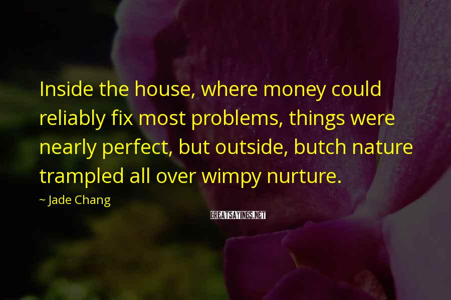 Jade Chang Sayings: Inside the house, where money could reliably fix most problems, things were nearly perfect, but