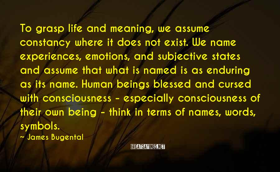 James Bugental Sayings: To grasp life and meaning, we assume constancy where it does not exist. We name
