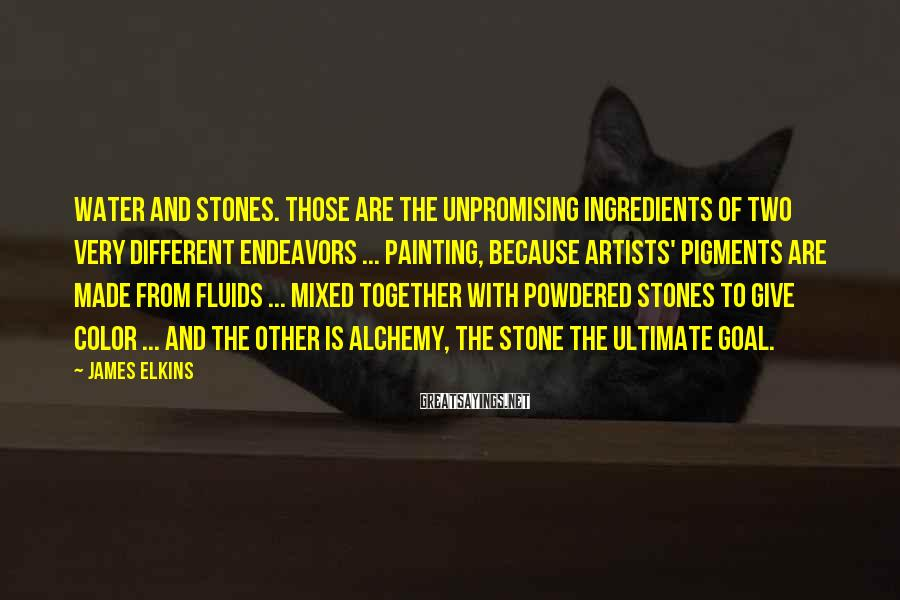 James Elkins Sayings: Water and stones. Those are the unpromising ingredients of two very different endeavors ... painting,