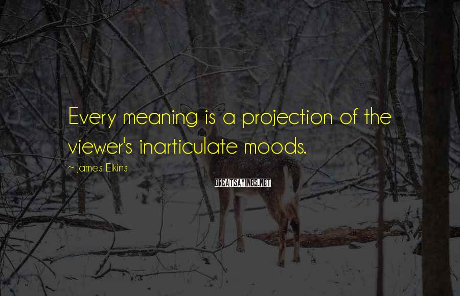 James Elkins Sayings: Every meaning is a projection of the viewer's inarticulate moods.