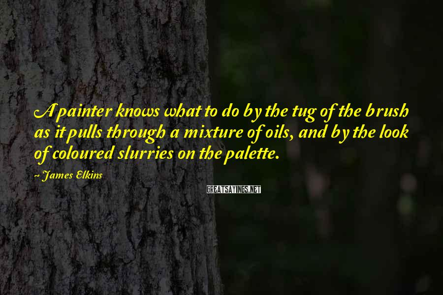 James Elkins Sayings: A painter knows what to do by the tug of the brush as it pulls