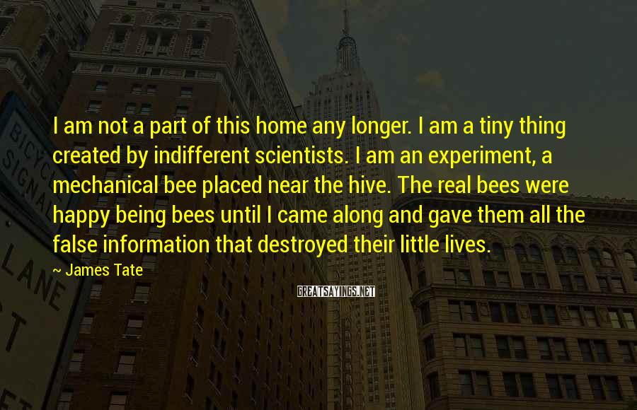 James Tate Sayings: I am not a part of this home any longer. I am a tiny thing