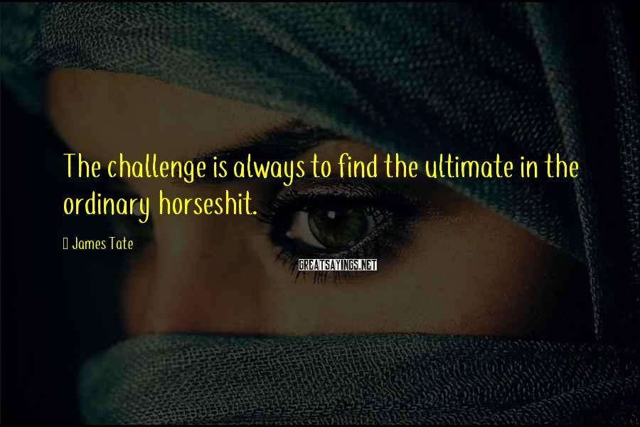James Tate Sayings: The challenge is always to find the ultimate in the ordinary horseshit.