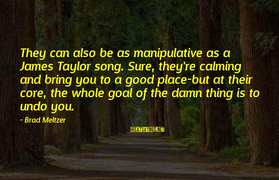 James Taylor Best Song Sayings By Brad Meltzer: They can also be as manipulative as a James Taylor song. Sure, they're calming and