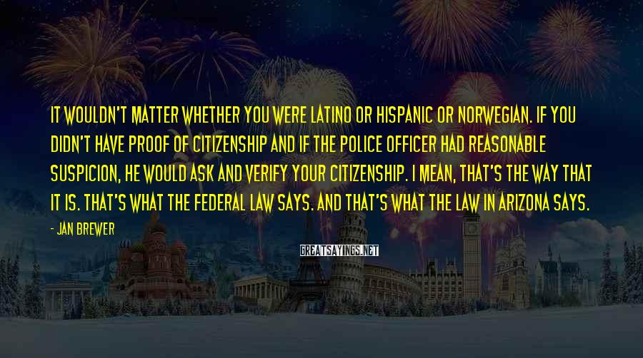 Jan Brewer Sayings: It wouldn't matter whether you were Latino or Hispanic or Norwegian. If you didn't have