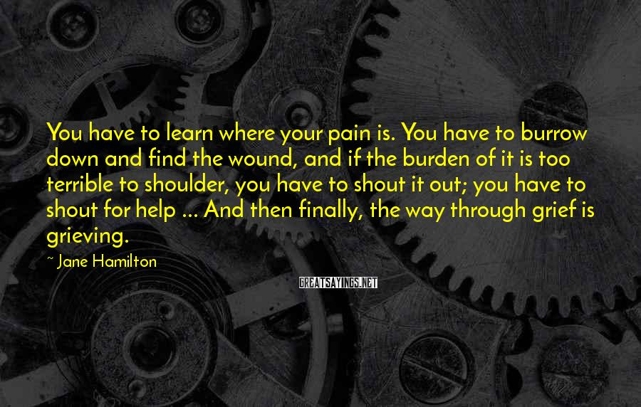 Jane Hamilton Sayings: You have to learn where your pain is. You have to burrow down and find