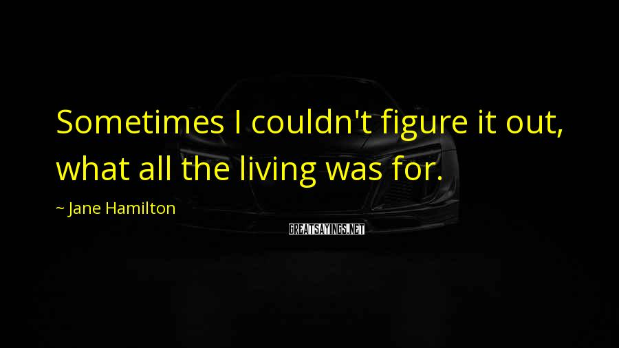 Jane Hamilton Sayings: Sometimes I couldn't figure it out, what all the living was for.