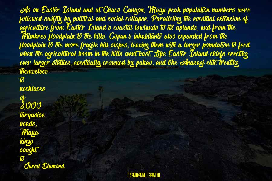 Jared's Sayings By Jared Diamond: As on Easter Island and at Chaco Canyon, Maya peak population numbers were followed swiftly