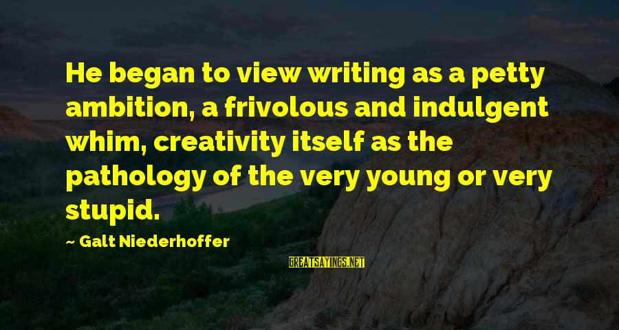 Jay Gatsby Famous Sayings By Galt Niederhoffer: He began to view writing as a petty ambition, a frivolous and indulgent whim, creativity