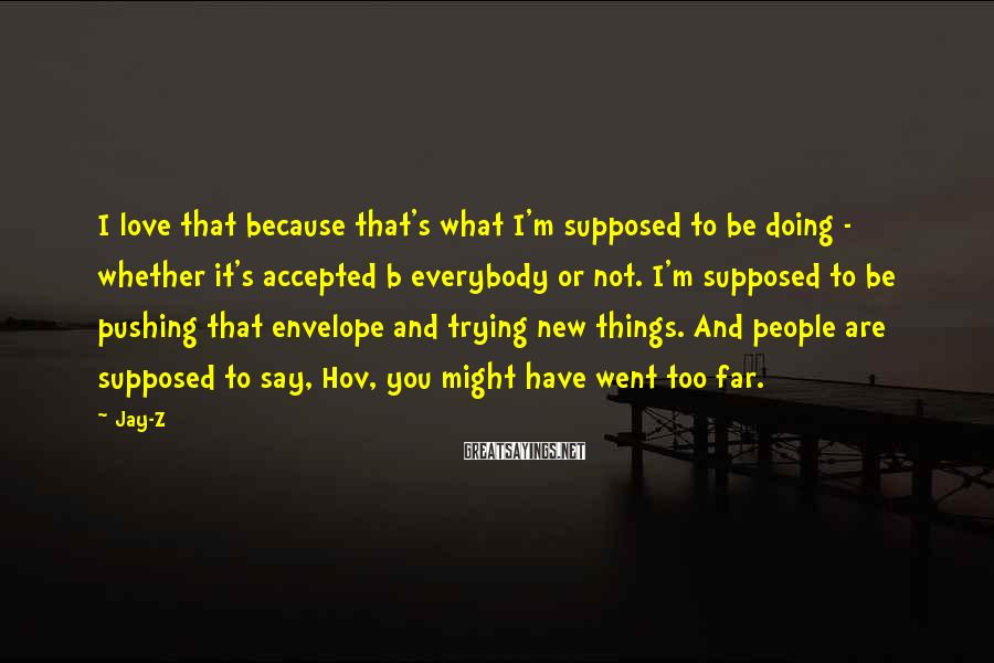 Jay-Z Sayings: I love that because that's what I'm supposed to be doing - whether it's accepted