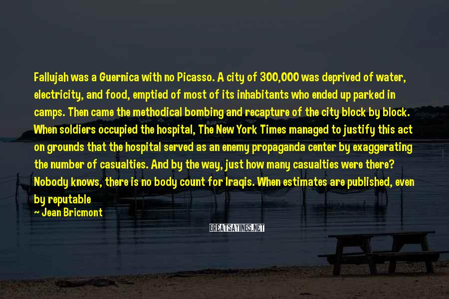 Jean Bricmont Sayings: Fallujah was a Guernica with no Picasso. A city of 300,000 was deprived of water,