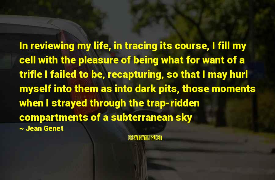 Jean Genet Sayings By Jean Genet: In reviewing my life, in tracing its course, I fill my cell with the pleasure