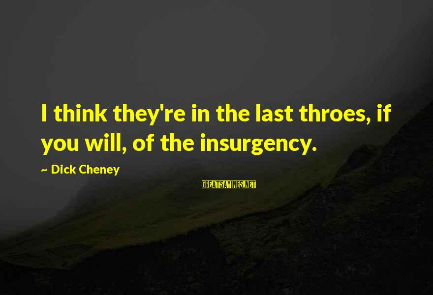 Jeanne Robertson Sayings By Dick Cheney: I think they're in the last throes, if you will, of the insurgency.