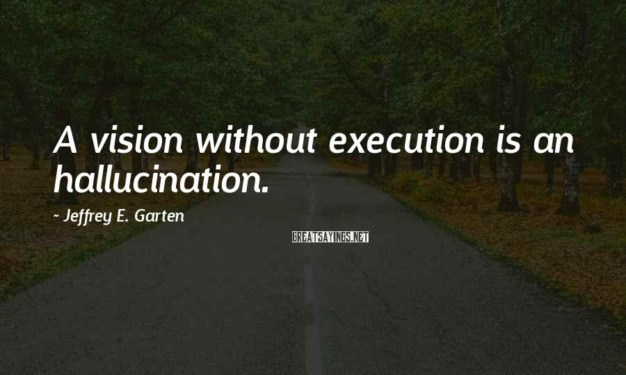 Jeffrey E. Garten Sayings: A vision without execution is an hallucination.