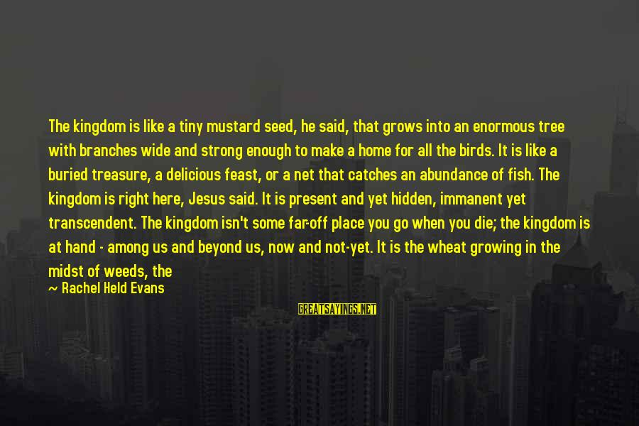 Jesus Abundance Sayings By Rachel Held Evans: The kingdom is like a tiny mustard seed, he said, that grows into an enormous