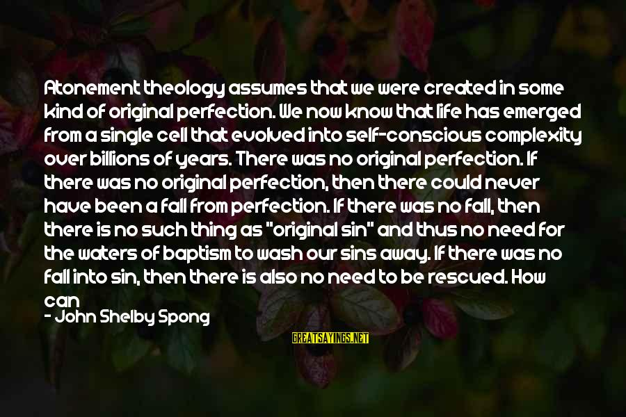 Jesus Baptism Sayings By John Shelby Spong: Atonement theology assumes that we were created in some kind of original perfection. We now