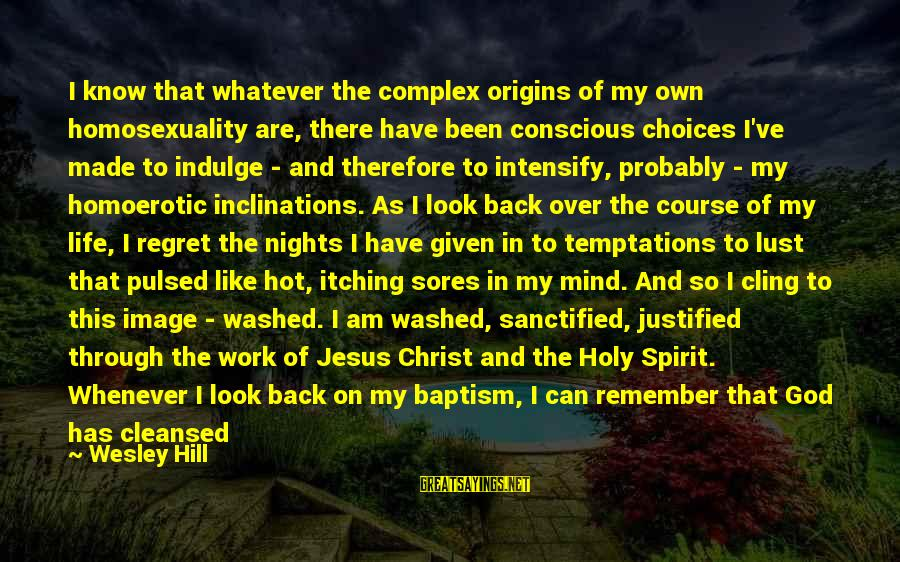 Jesus Baptism Sayings By Wesley Hill: I know that whatever the complex origins of my own homosexuality are, there have been