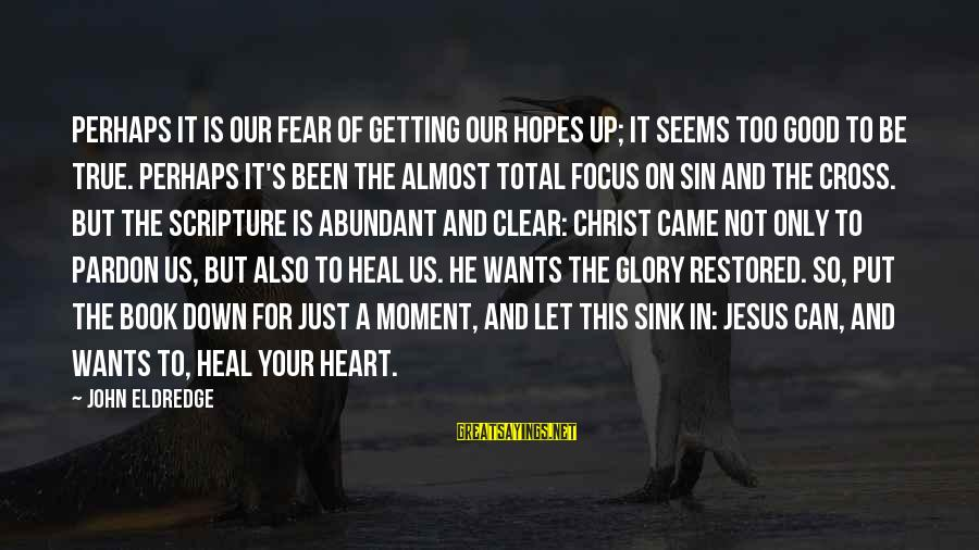 Jesus Christ Scripture Sayings By John Eldredge: Perhaps it is our fear of getting our hopes up; it seems too good to